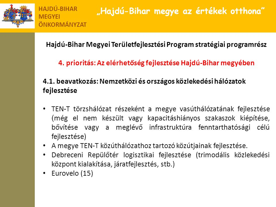 """HAJDÚ-BIHAR MEGYEI ÖNKORMÁNYZAT """"Hajdú-Bihar megye az értékek otthona"""" Hajdú-Bihar Megyei Területfejlesztési Program stratégiai programrész 4. priorit"""