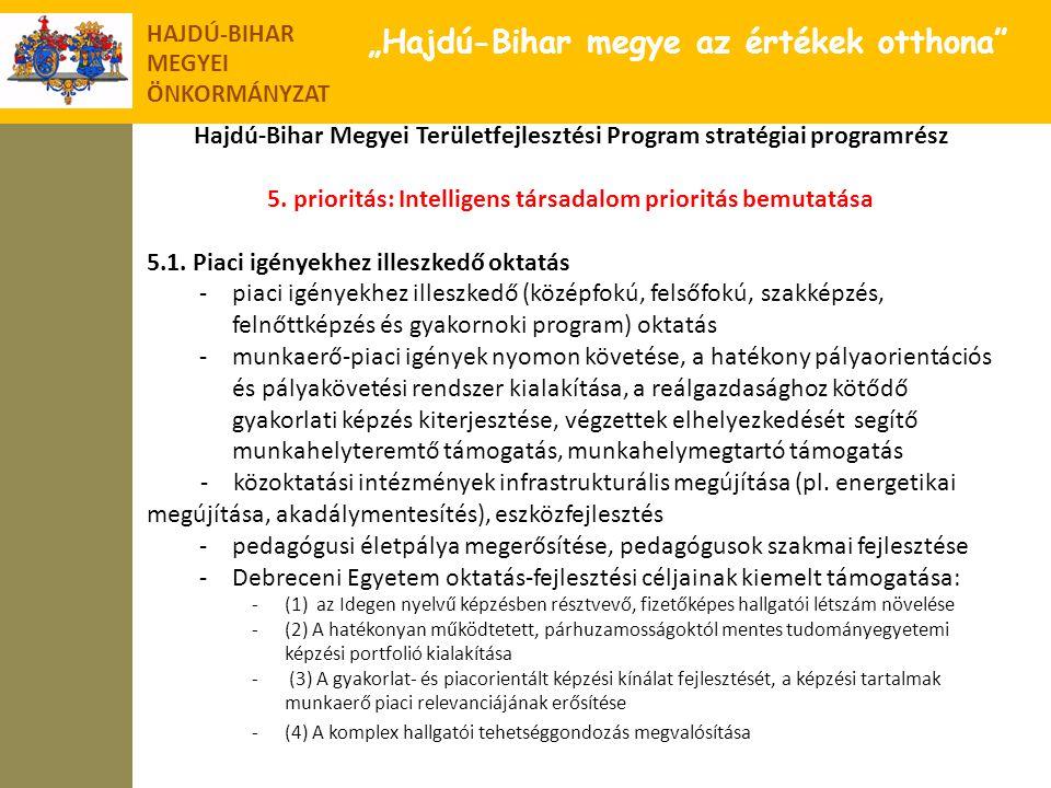 """HAJDÚ-BIHAR MEGYEI ÖNKORMÁNYZAT """"Hajdú-Bihar megye az értékek otthona"""" Hajdú-Bihar Megyei Területfejlesztési Program stratégiai programrész 5. priorit"""
