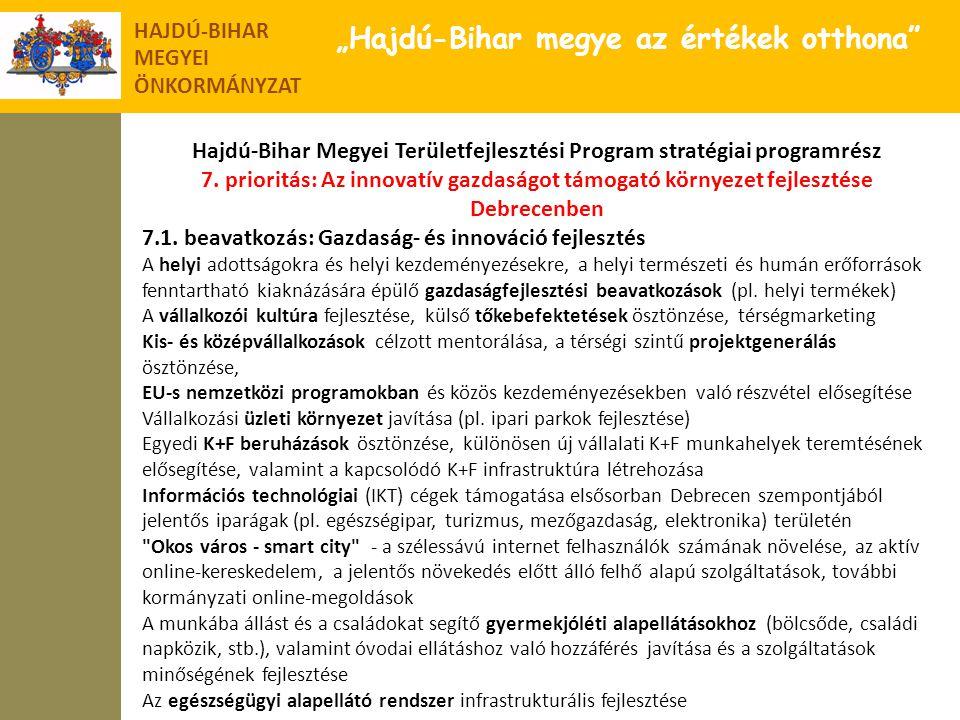 """HAJDÚ-BIHAR MEGYEI ÖNKORMÁNYZAT """"Hajdú-Bihar megye az értékek otthona"""" Hajdú-Bihar Megyei Területfejlesztési Program stratégiai programrész 7. priorit"""