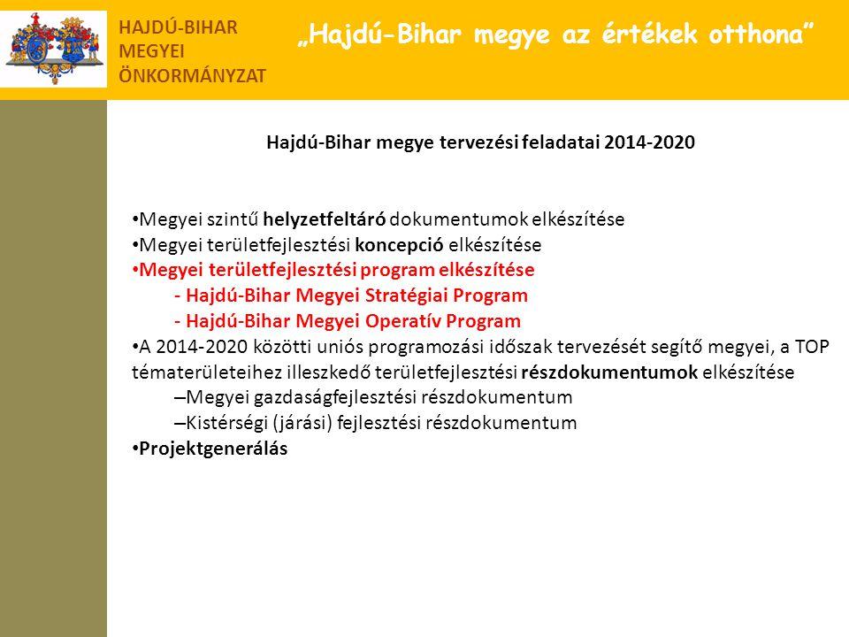 """HAJDÚ-BIHAR MEGYEI ÖNKORMÁNYZAT """"Hajdú-Bihar megye az értékek otthona"""" Hajdú-Bihar megye tervezési feladatai 2014-2020 • Megyei szintű helyzetfeltáró"""