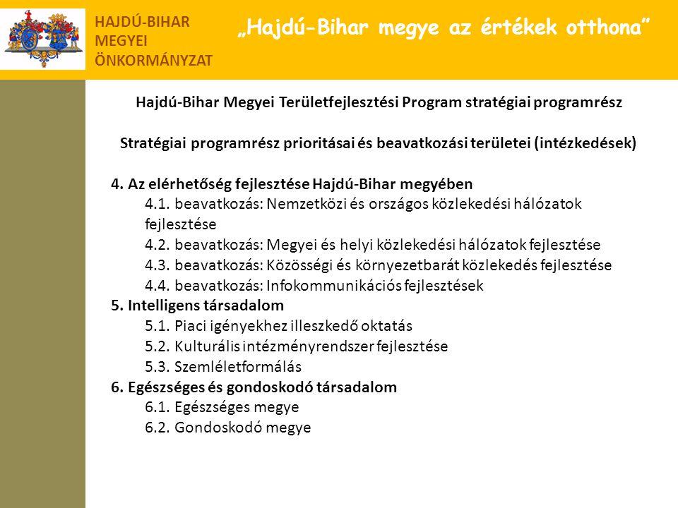 """HAJDÚ-BIHAR MEGYEI ÖNKORMÁNYZAT """"Hajdú-Bihar megye az értékek otthona"""" Hajdú-Bihar Megyei Területfejlesztési Program stratégiai programrész Stratégiai"""