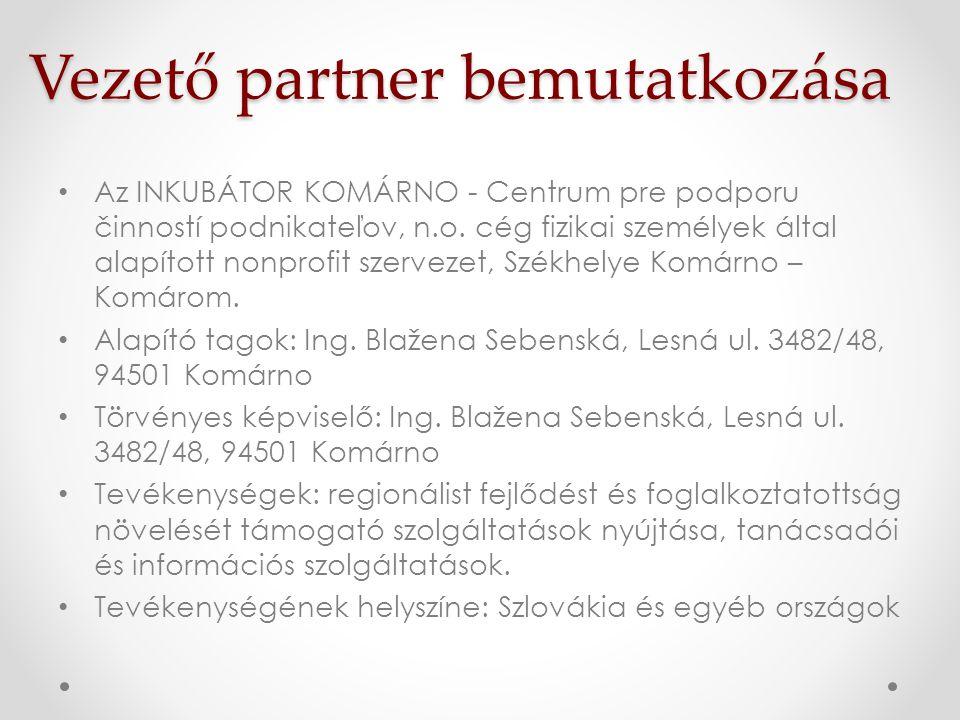Vezető partner bemutatkozása • Az INKUBÁTOR KOMÁRNO - Centrum pre podporu činností podnikateľov, n.o. cég fizikai személyek által alapított nonprofit