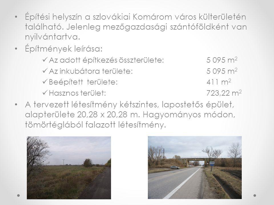 • Építési helyszín a szlovákiai Komárom város külterületén található. Jelenleg mezőgazdasági szántóföldként van nyilvántartva. • Építmények leírása: 
