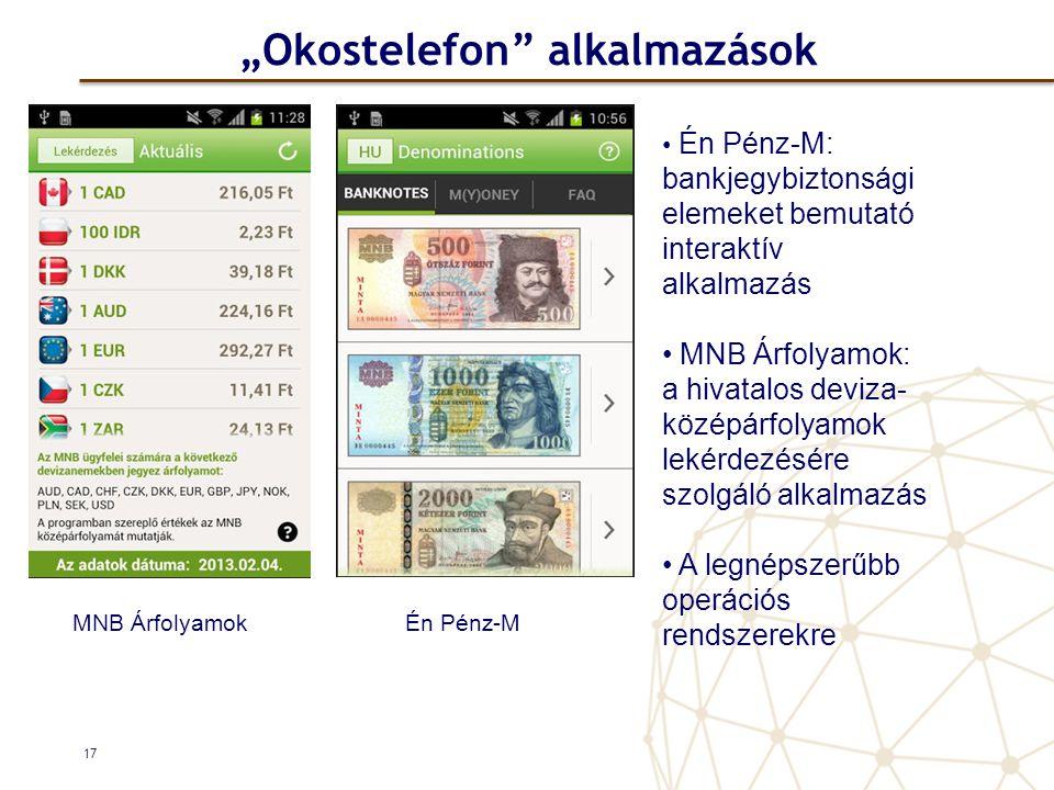 """""""Okostelefon alkalmazások 17 • Én Pénz-M: bankjegybiztonsági elemeket bemutató interaktív alkalmazás • MNB Árfolyamok: a hivatalos deviza- középárfolyamok lekérdezésére szolgáló alkalmazás • A legnépszerűbb operációs rendszerekre MNB ÁrfolyamokÉn Pénz-M"""