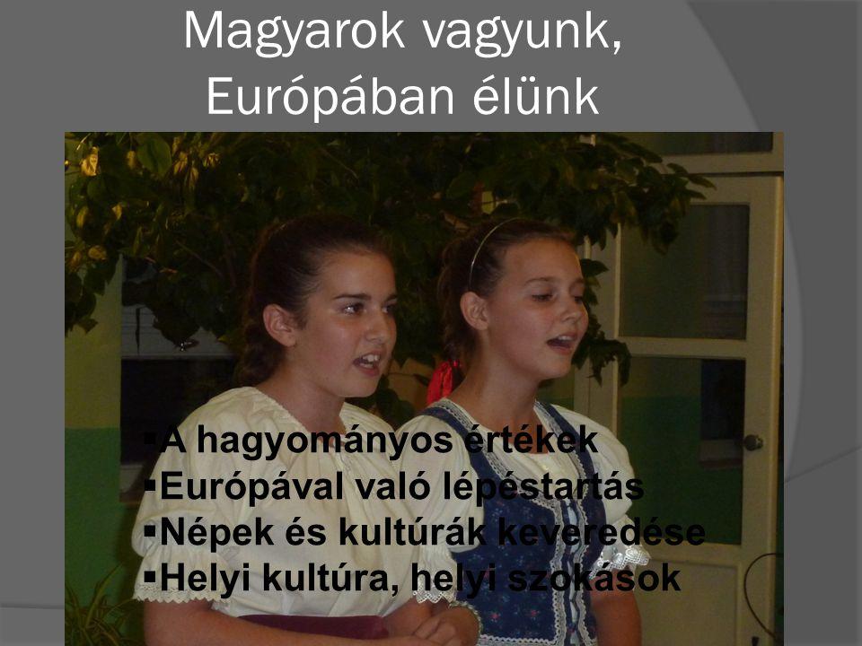 Magyarok vagyunk, Európában élünk  A hagyományos értékek  Európával való lépéstartás  Népek és kultúrák keveredése  Helyi kultúra, helyi szokások
