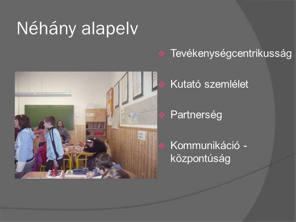 Néhány alapelv  Tevékenységcentrikusság  Kutató szemlélet  Partnerség  Kommunikáció - központúság