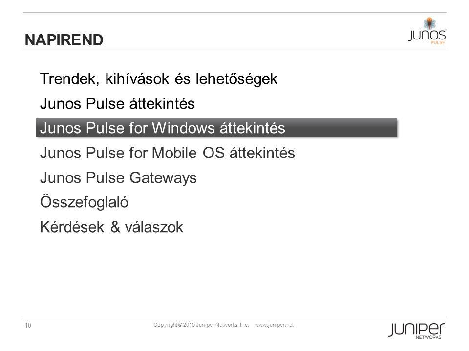 10 Copyright © 2010 Juniper Networks, Inc. www.juniper.net Trendek, kihívások és lehetőségek Junos Pulse áttekintés Junos Pulse for Windows áttekintés