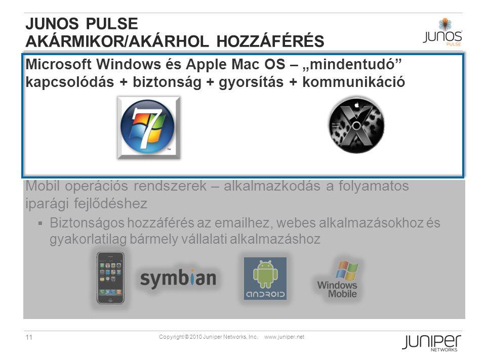 """11 Copyright © 2010 Juniper Networks, Inc. www.juniper.net JUNOS PULSE AKÁRMIKOR/AKÁRHOL HOZZÁFÉRÉS Microsoft Windows és Apple Mac OS – """"mindentudó"""" k"""