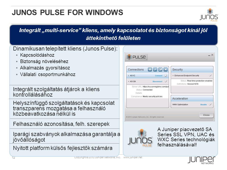 12 Copyright © 2010 Juniper Networks, Inc. www.juniper.net JUNOS PULSE FOR WINDOWS A Juniper piacvezető SA Series SSL VPN, UAC és WXC Series technológ