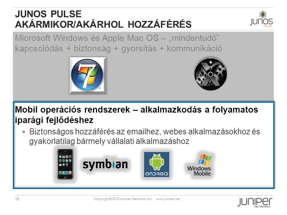 """19 Copyright © 2010 Juniper Networks, Inc. www.juniper.net JUNOS PULSE AKÁRMIKOR/AKÁRHOL HOZZÁFÉRÉS Microsoft Windows és Apple Mac OS – """"mindentudó"""" k"""