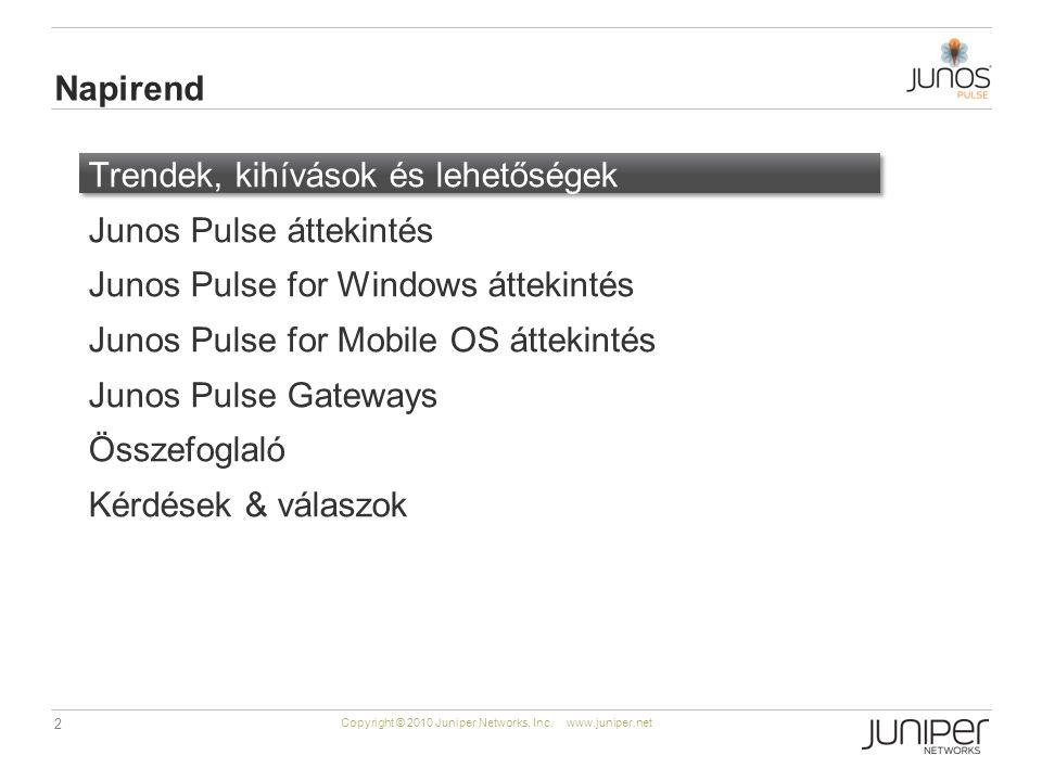 2 Copyright © 2010 Juniper Networks, Inc. www.juniper.net Trendek, kihívások és lehetőségek Junos Pulse áttekintés Junos Pulse for Windows áttekintés