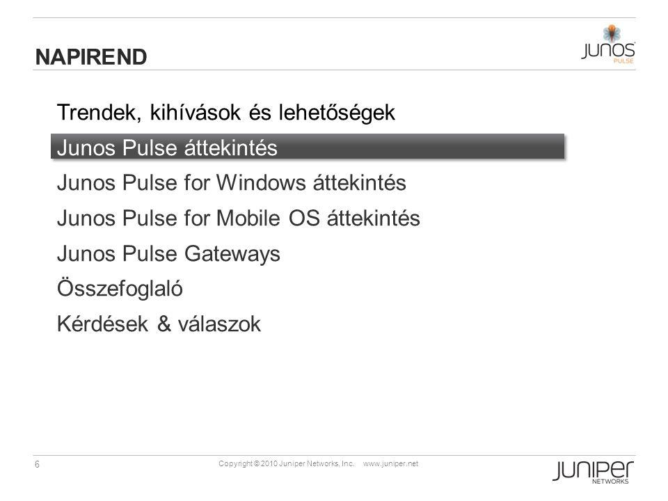 6 Copyright © 2010 Juniper Networks, Inc. www.juniper.net Trendek, kihívások és lehetőségek Junos Pulse áttekintés Junos Pulse for Windows áttekintés
