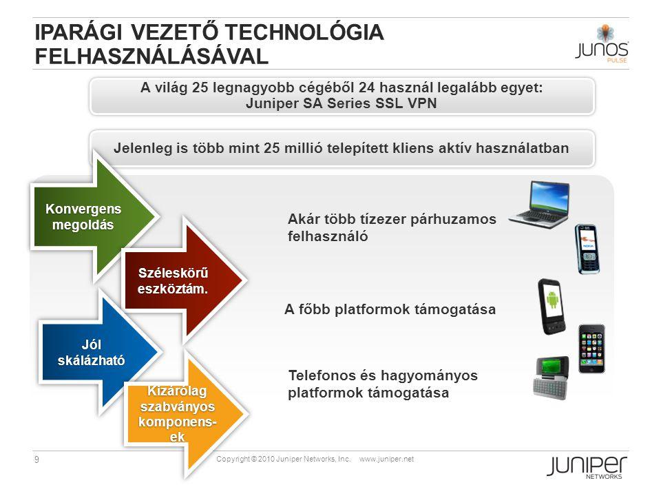 9 Copyright © 2010 Juniper Networks, Inc. www.juniper.net A világ 25 legnagyobb cégéből 24 használ legalább egyet: Juniper SA Series SSL VPN A világ 2