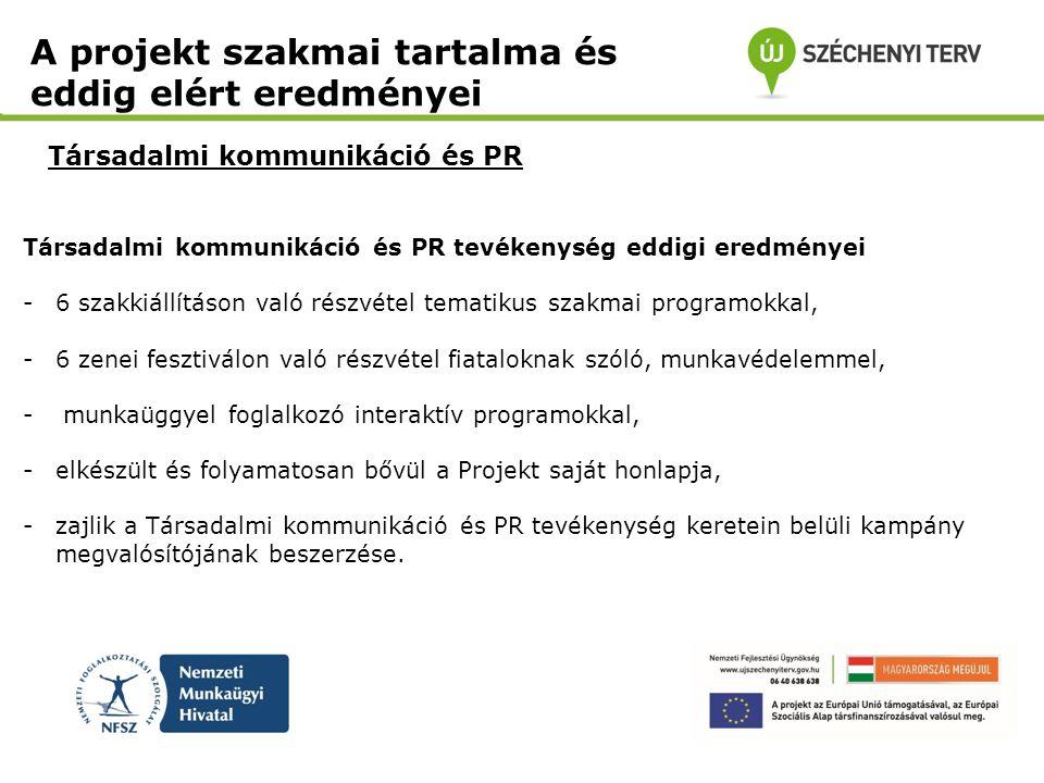 Társadalmi kommunikáció és PR A projekt szakmai tartalma és eddig elért eredményei Társadalmi kommunikáció és PR tevékenység eddigi eredményei -6 szak
