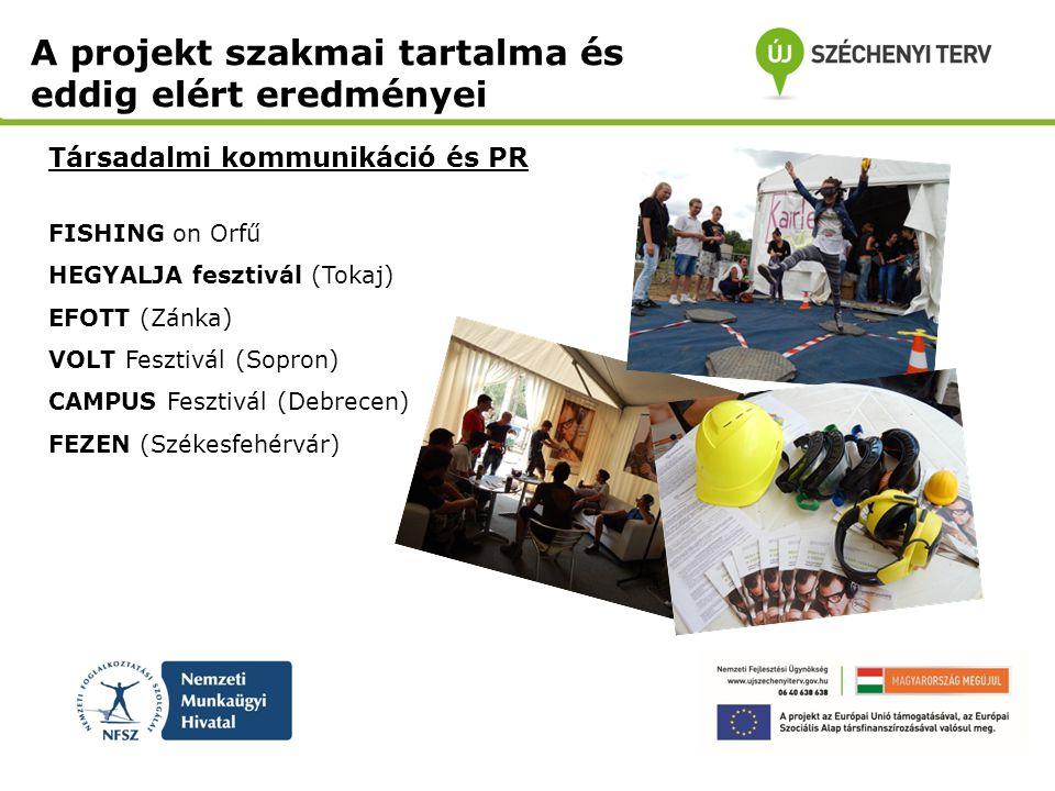 Társadalmi kommunikáció és PR A projekt szakmai tartalma és eddig elért eredményei FISHING on Orfű HEGYALJA fesztivál (Tokaj) EFOTT (Zánka) VOLT Feszt