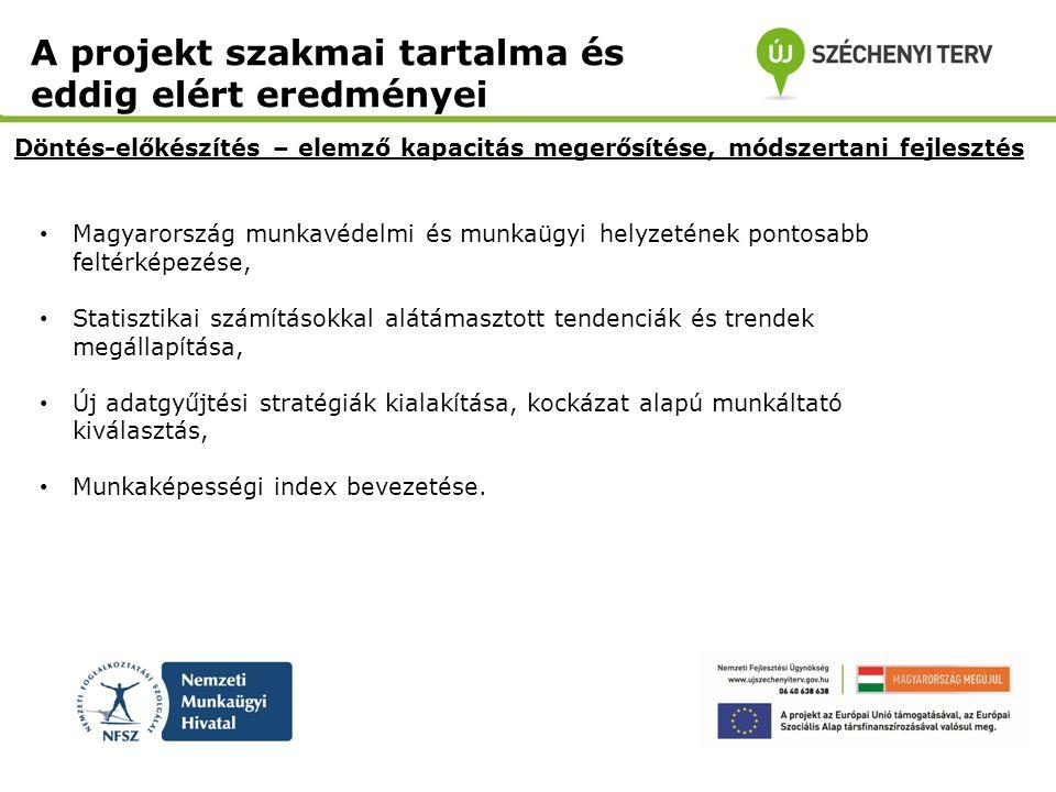 • Magyarország munkavédelmi és munkaügyi helyzetének pontosabb feltérképezése, • Statisztikai számításokkal alátámasztott tendenciák és trendek megáll