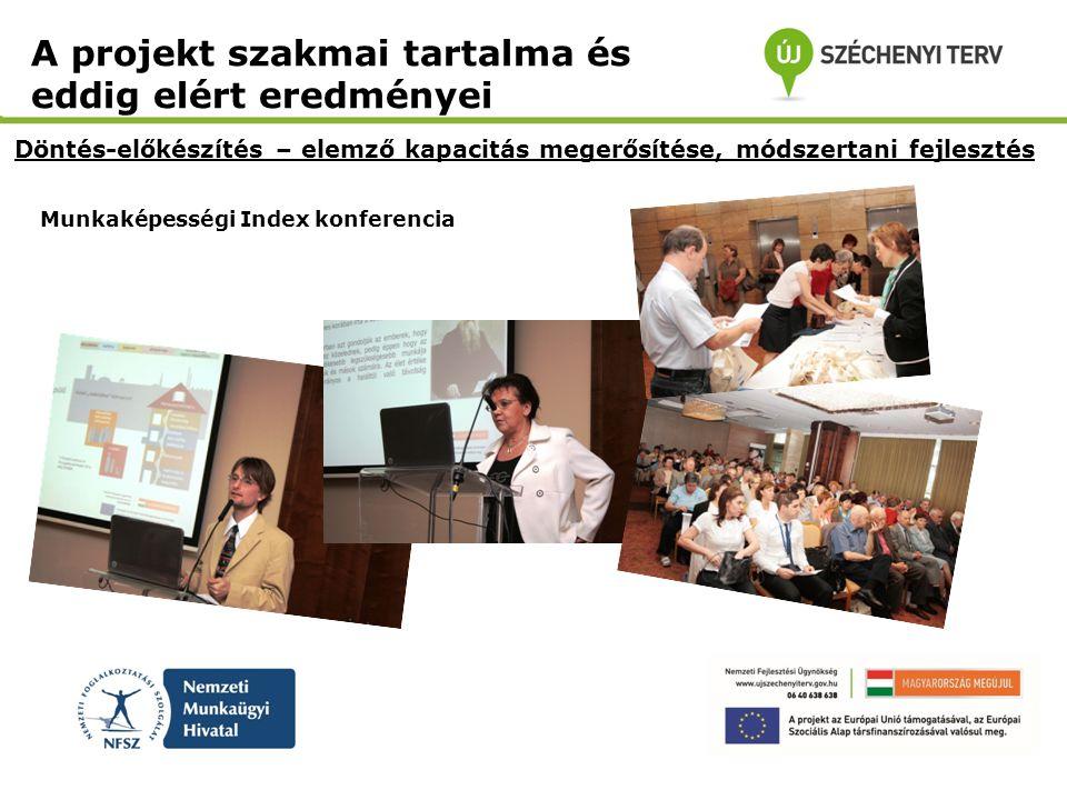 Munkaképességi Index konferencia Döntés-előkészítés – elemző kapacitás megerősítése, módszertani fejlesztés A projekt szakmai tartalma és eddig elért