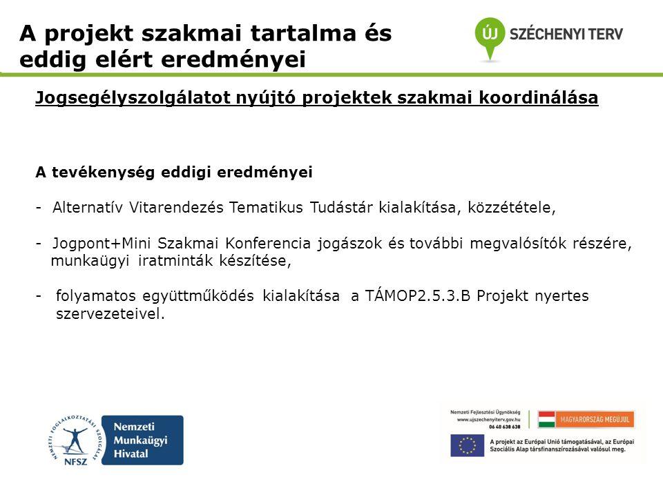 Jogsegélyszolgálatot nyújtó projektek szakmai koordinálása A projekt szakmai tartalma és eddig elért eredményei A tevékenység eddigi eredményei - Alte