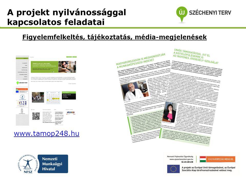 Figyelemfelkeltés, tájékoztatás, média-megjelenések www.tamop248.hu A projekt nyilvánossággal kapcsolatos feladatai