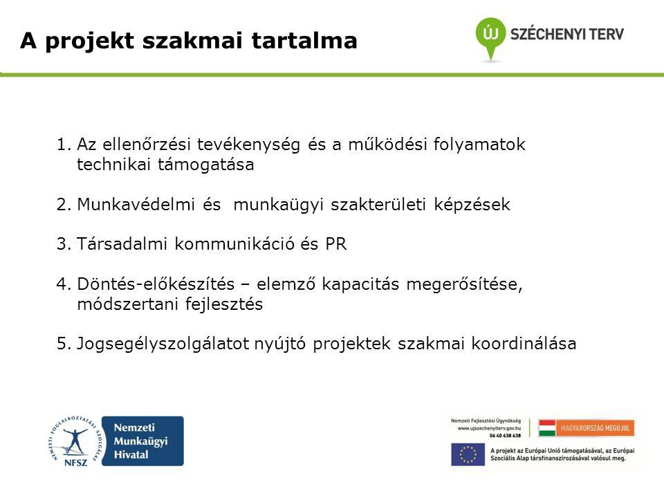 A projekt szakmai tartalma 1.Az ellenőrzési tevékenység és a működési folyamatok technikai támogatása 2.Munkavédelmi és munkaügyi szakterületi képzése