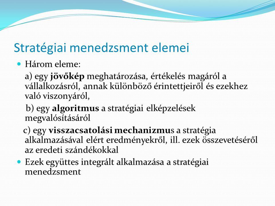 Stratégiai menedzsment elemei  Három eleme: a) egy jövőkép meghatározása, értékelés magáról a vállalkozásról, annak különböző érintettjeiről és ezekh