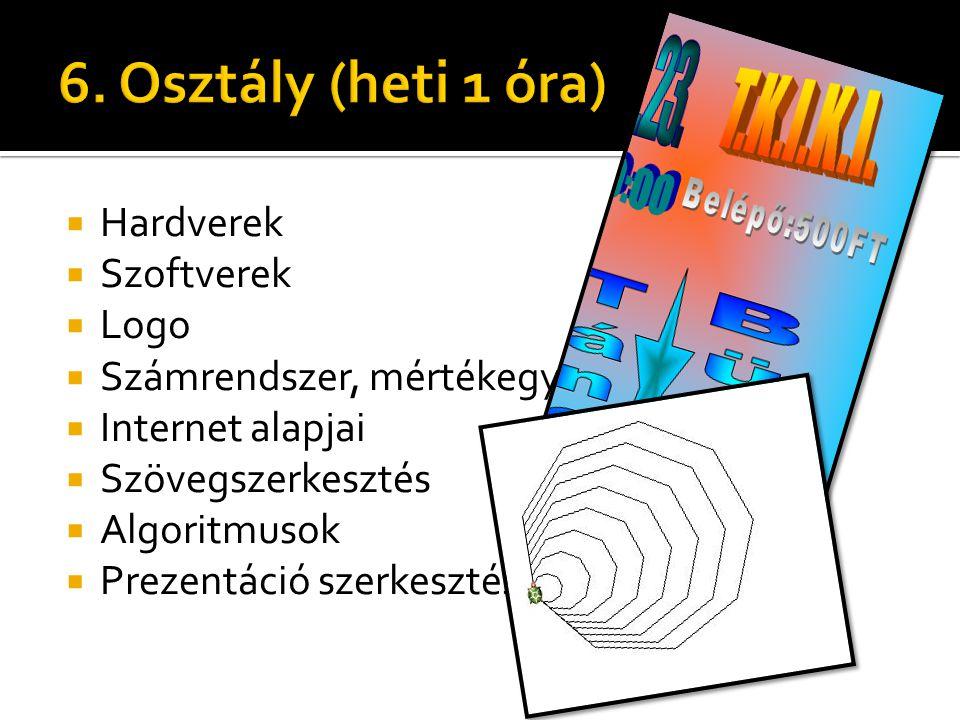  Hardverek  Szoftverek  Logo  Számrendszer, mértékegységek  Internet alapjai  Szövegszerkesztés  Algoritmusok  Prezentáció szerkesztés