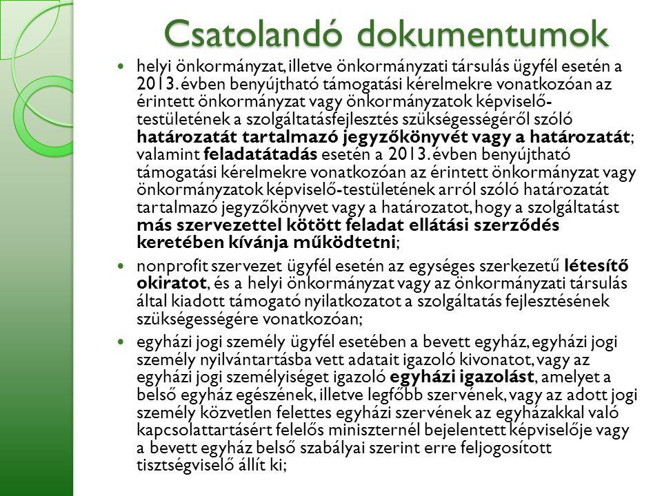 Csatolandó dokumentumok  helyi önkormányzat, illetve önkormányzati társulás ügyfél esetén a 2013. évben benyújtható támogatási kérelmekre vonatkozóan