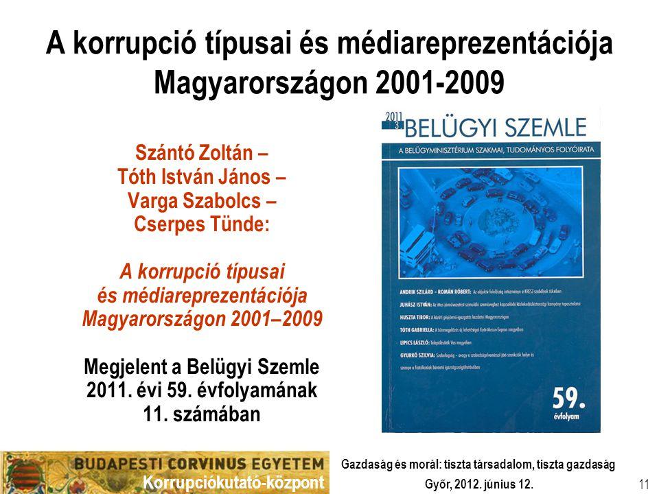 Korrupciókutató-központ Győr, 2012. június 12. Gazdaság és morál: tiszta társadalom, tiszta gazdaság 11 A korrupció típusai és médiareprezentációja Ma