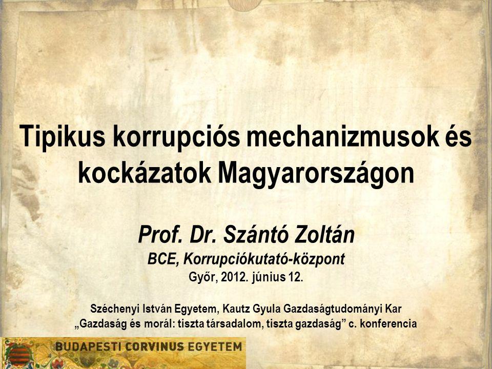 Tipikus korrupciós mechanizmusok és kockázatok Magyarországon Prof. Dr. Szántó Zoltán BCE, Korrupciókutató-központ Győr, 2012. június 12. Széchenyi Is