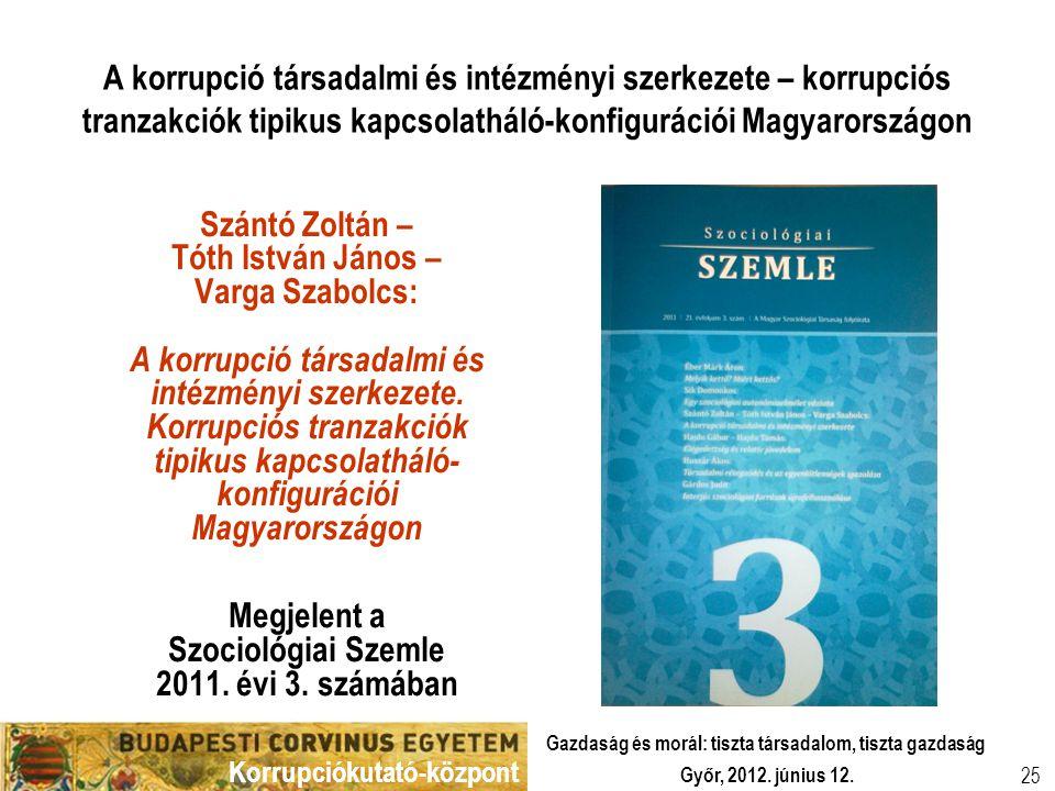 Korrupciókutató-központ Győr, 2012. június 12. Gazdaság és morál: tiszta társadalom, tiszta gazdaság 25 A korrupció társadalmi és intézményi szerkezet
