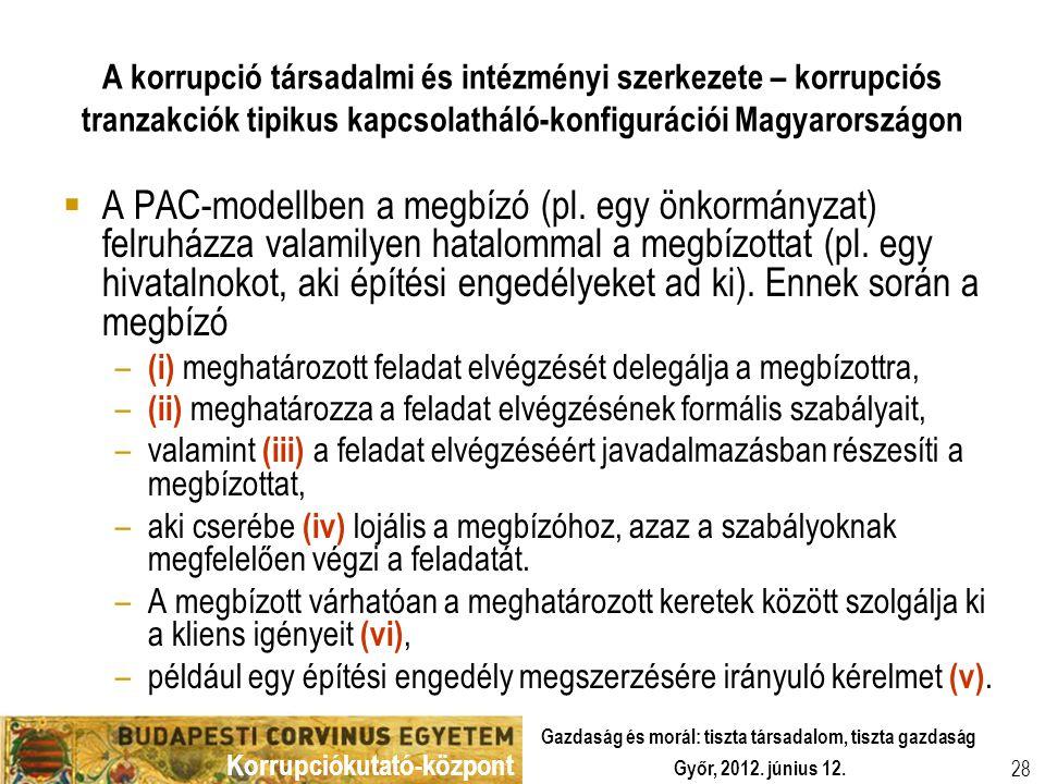 Korrupciókutató-központ Győr, 2012. június 12. Gazdaság és morál: tiszta társadalom, tiszta gazdaság 28 A korrupció társadalmi és intézményi szerkezet