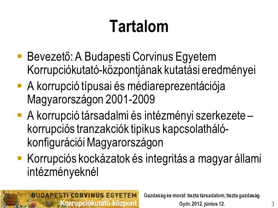 Korrupciókutató-központ Győr, 2012. június 12. Gazdaság és morál: tiszta társadalom, tiszta gazdaság 3 Tartalom  Bevezető: A Budapesti Corvinus Egyet