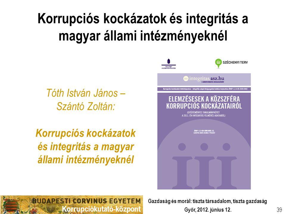Korrupciókutató-központ Győr, 2012. június 12. Gazdaság és morál: tiszta társadalom, tiszta gazdaság 39 Korrupciós kockázatok és integritás a magyar á
