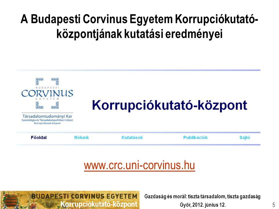 Korrupciókutató-központ Győr, 2012. június 12. Gazdaság és morál: tiszta társadalom, tiszta gazdaság 5 A Budapesti Corvinus Egyetem Korrupciókutató- k