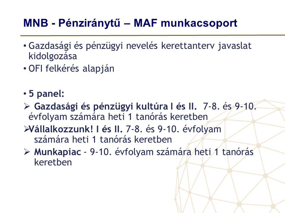 MNB - Pénziránytű – MAF munkacsoport • Gazdasági és pénzügyi nevelés kerettanterv javaslat kidolgozása • OFI felkérés alapján • 5 panel:  Gazdasági é