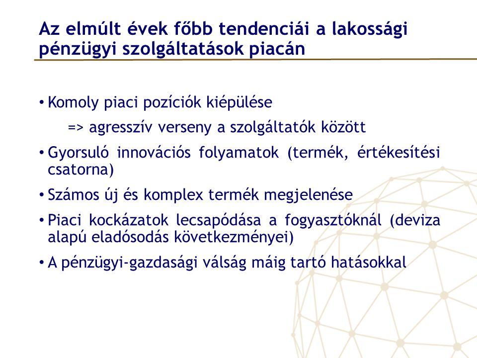 Az elmúlt évek főbb tendenciái a lakossági pénzügyi szolgáltatások piacán • Komoly piaci pozíciók kiépülése => agresszív verseny a szolgáltatók között