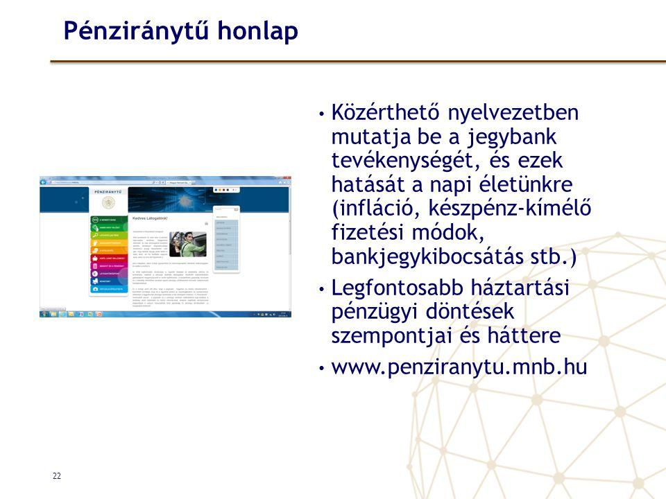 Pénziránytű honlap • Közérthető nyelvezetben mutatja be a jegybank tevékenységét, és ezek hatását a napi életünkre (infláció, készpénz-kímélő fizetési