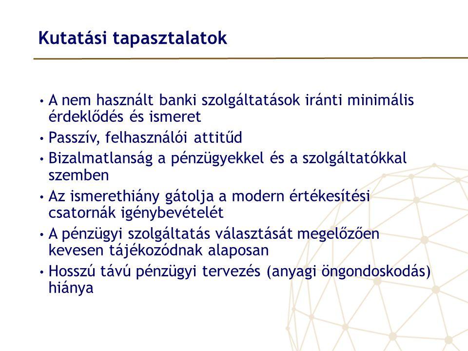 Kutatási tapasztalatok • A nem használt banki szolgáltatások iránti minimális érdeklődés és ismeret • Passzív, felhasználói attitűd • Bizalmatlanság a