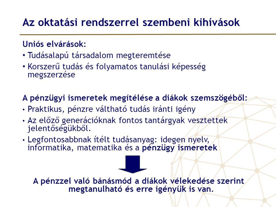 Az oktatási rendszerrel szembeni kihívások Uniós elvárások: • Tudásalapú társadalom megteremtése • Korszerű tudás és folyamatos tanulási képesség megs