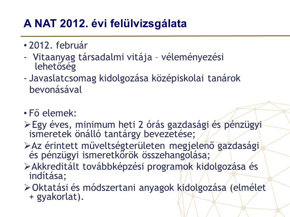 A NAT 2012. évi felülvizsgálata • 2012. február - Vitaanyag társadalmi vitája – véleményezési lehetőség -Javaslatcsomag kidolgozása középiskolai tanár