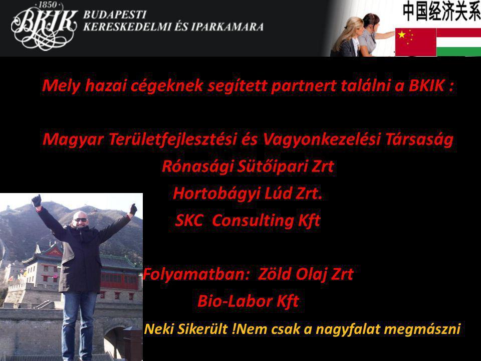 Mely hazai cégeknek segített partnert találni a BKIK : Magyar Területfejlesztési és Vagyonkezelési Társaság Rónasági Sütőipari Zrt Hortobágyi Lúd Zrt.