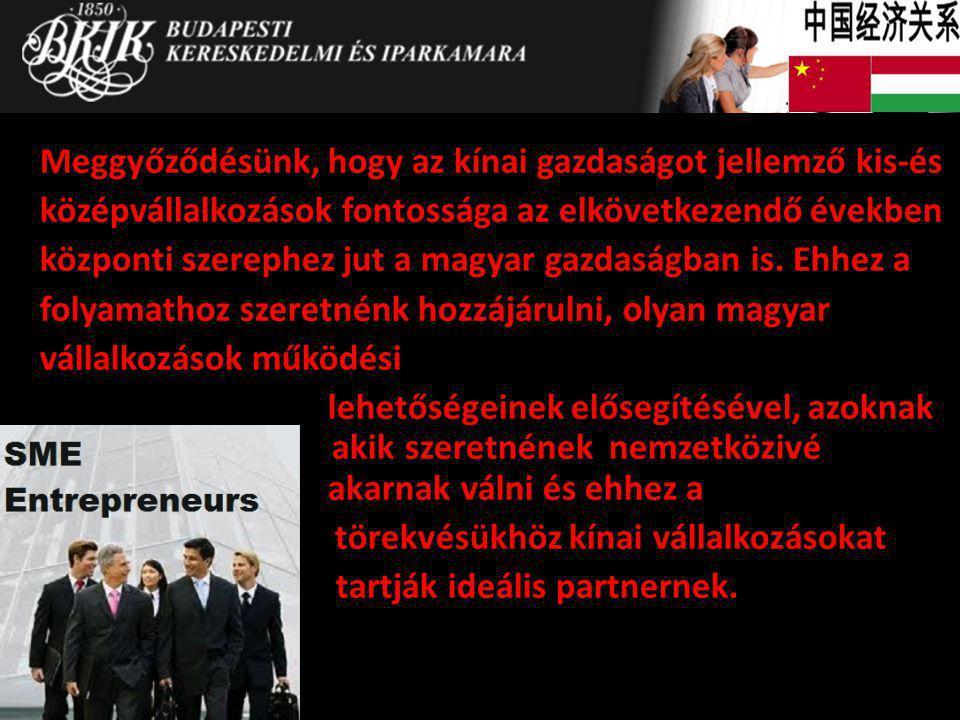 Meggyőződésünk, hogy az kínai gazdaságot jellemző kis-és középvállalkozások fontossága az elkövetkezendő években központi szerephez jut a magyar gazda