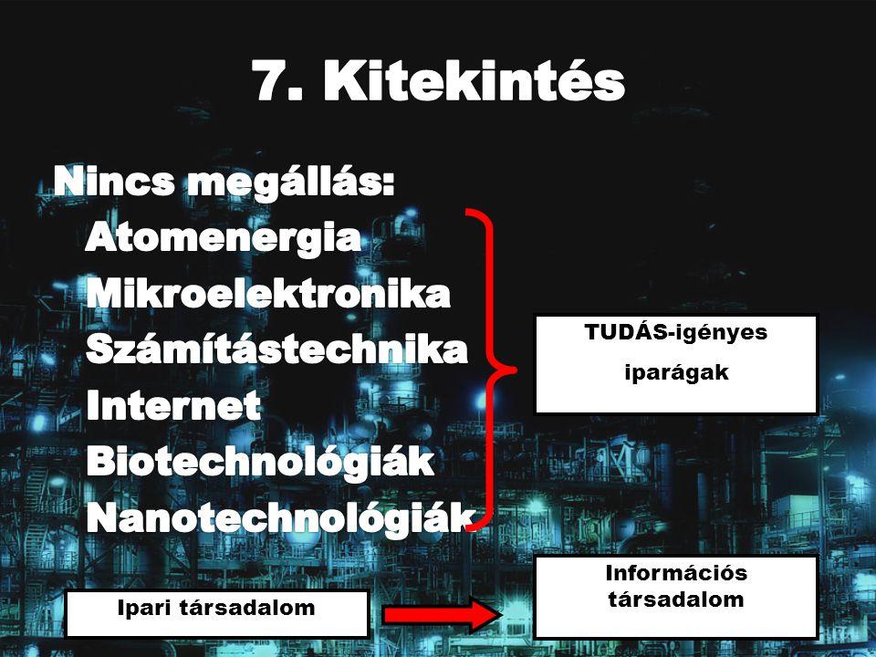 TUDÁS-igényes iparágak Ipari társadalom Információs társadalom