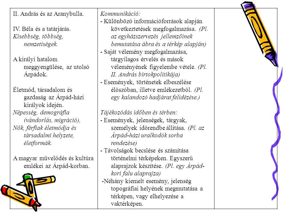II.András és az Aranybulla. IV. Béla és a tatárjárás.