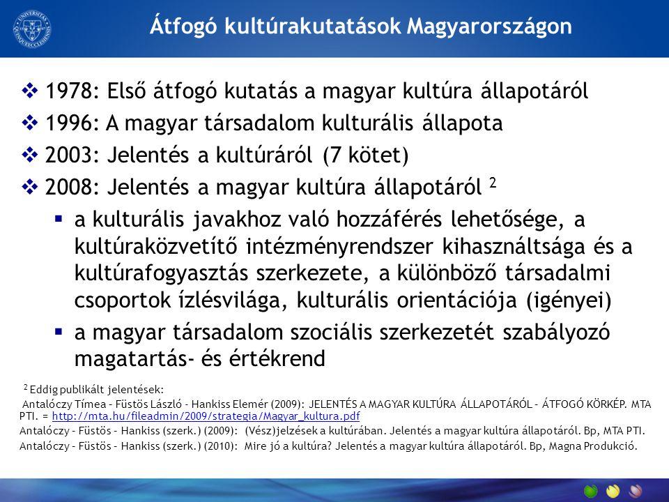 Átfogó kultúrakutatások Magyarországon  1978: Első átfogó kutatás a magyar kultúra állapotáról  1996: A magyar társadalom kulturális állapota  2003: Jelentés a kultúráról (7 kötet)  2008: Jelentés a magyar kultúra állapotáról 2  a kulturális javakhoz való hozzáférés lehetősége, a kultúraközvetítő intézményrendszer kihasználtsága és a kultúrafogyasztás szerkezete, a különböző társadalmi csoportok ízlésvilága, kulturális orientációja (igényei)  a magyar társadalom szociális szerkezetét szabályozó magatartás- és értékrend 2 Eddig publikált jelentések: Antalóczy Tímea – Füstös László - Hankiss Elemér (2009): JELENTÉS A MAGYAR KULTÚRA ÁLLAPOTÁRÓL – ÁTFOGÓ KÖRKÉP.
