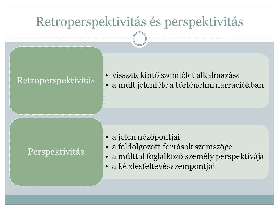 Retroperspektivitás és perspektivitás •visszatekintő szemlélet alkalmazása •a múlt jelenléte a történelmi narrációkban Retroperspektivitás •a jelen né