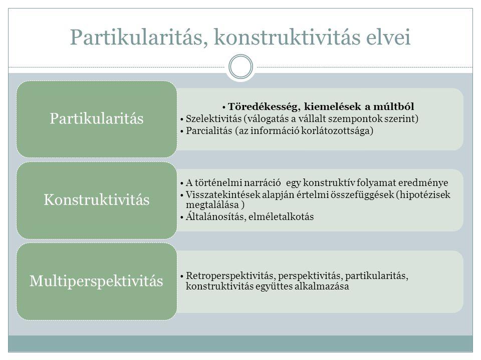 Partikularitás, konstruktivitás elvei •Töredékesség, kiemelések a múltból •Szelektivitás (válogatás a vállalt szempontok szerint) •Parcialitás (az inf