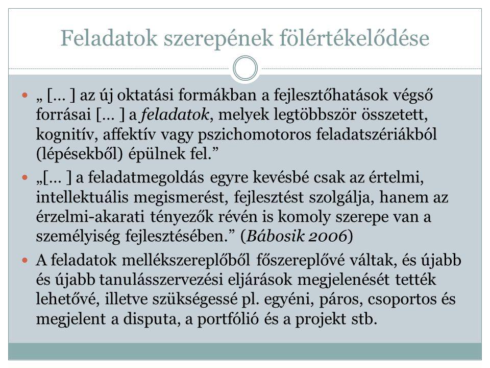 """Feladatok szerepének fölértékelődése  """" [… ] az új oktatási formákban a fejlesztőhatások végső forrásai [… ] a feladatok, melyek legtöbbször összetet"""