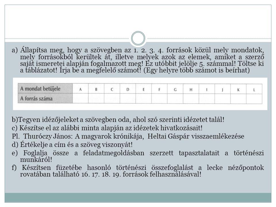 a) Állapítsa meg, hogy a szövegben az 1. 2. 3. 4. források közül mely mondatok, mely forrásokból kerültek át, illetve melyek azok az elemek, amiket a