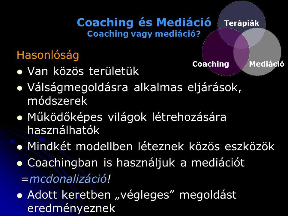 Coaching és Mediáció Coaching vagy mediáció? Hasonlóság   Van közös területük   Válságmegoldásra alkalmas eljárások, módszerek   Működőképes vil